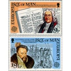 2 عدد تمبر مشترک اروپا - Europa Cept - حوادث تاریخی -  جزیره من 1982