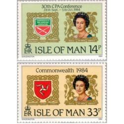 2 عدد تمبر 30مین کنفرانس کشورهای مشترک المنافع -  جزیره من 1984
