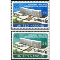 2 عدد تمبر ساختمان جدید سازمان بین المللی کار - نیویورک سازمان ملل 1974