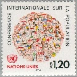 1 عدد تمبر کنفرانس جهانی جمعیت - ژنو سازمان ملل 1984 قیمت 2.3 دلار