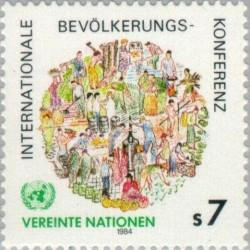 1 عدد تمبر کنفرانس جهانی جمعیت - وین سازمان ملل 1984 قیمت 1.7 دلار