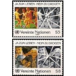 2 عدد تمبر مبارزه علیه سوء مصرف مواد - وین سازمان ملل 1985 قیمت 2.6 دلار