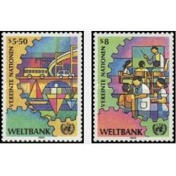 2 عدد تمبر بانک جهانی - وین سازمان ملل 1989 قیمت 2.98 دلار