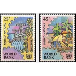 2 عدد تمبر بانک جهانی - نیویورک سازمان ملل 1989 قیمت 1.8 دلار