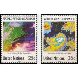 2 عدد تمبر 25مین سالگرد ناظر سازمان جهانی هواشناسی - نیویورک سازمان ملل 1989 قیمت 2 دلار