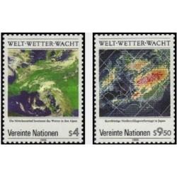 2 عدد تمبر 25مین سالگرد ناظر سازمان جهانی هواشناسی - وین سازمان ملل 1989 قیمت 2.6 دلار