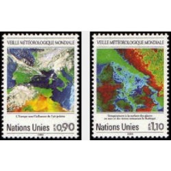 2 عدد تمبر 25مین سالگرد ناظر سازمان جهانی هواشناسی - ژنو سازمان ملل 1989 قیمت 4.2 دلار