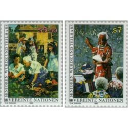 2 عدد تمبر برای یک سالخوردگی بهتر - وین سازمان ملل 1993 قیمت 2 دلار