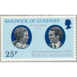 1 عدد تمبر ازدواج پرنسس آنه و کاپیتان مارک فیلیپ - گورنزی 1973