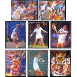 8 عدد تمبر تنیس بازان بین المللی - بکوئیا سنت وینسنت 1988 قیمت 7.2 دلار