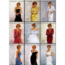9 عدد تمبر یادبود پرنسس دایانا - توگو 1997 قیمت 8 دلار