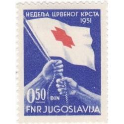 1عدد تمبر برافراشته شدن پرچم صلیب سرخ - یوگوسلاوی 1951