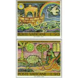 2 عدد تمبر صدمین سالروز اتحادیه جهانی پست UPU - تابلو -  واتیکان 1974