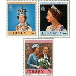 3 عدد تمبر 25مین سالروز تاجگذاری ملکه الیزابت دوم - جرسی 1977