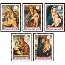 5 عدد تمبر کریستمس -تابلو نقاشی  - جزایر کوک 1971