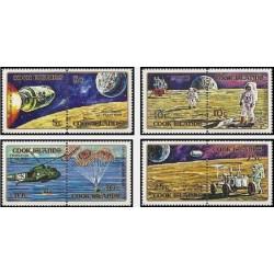 8 عدد تمبر پروازهای اکتشافی ماه آپولو - فرود بشر روی ماه  - جزایر کوک 1972