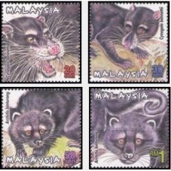 4 عدد تمبر پستانداران حفاظت شده مالزی - مالزی 2000