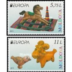 2 عدد تمبر مشترک اروپا - Europa Cept - اسباب باریهای قدیمی - مولداوی 2015 قیمت 8.9 دلار