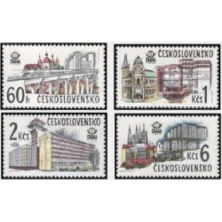 4 عدد تمبر نمایشگاه بین المللی تمبر پراگ - پلهای مدرن - چک اسلواکی 1978