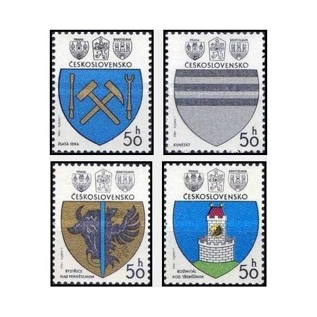 4 عدد تمبر نشان شهرهای چک -  چک اسلواکی 1980