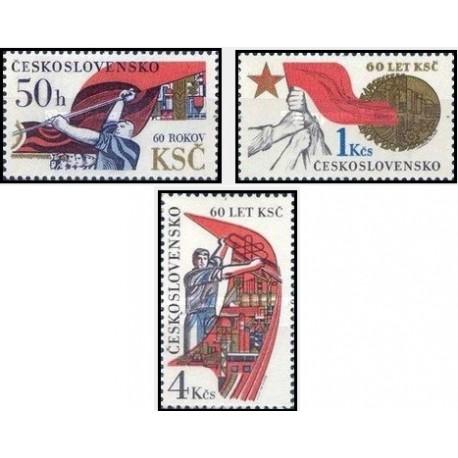 3 عدد تمبر 60مین سالگرد حزب کمونیست چک اسلواکی  -  چک اسلواکی 1981