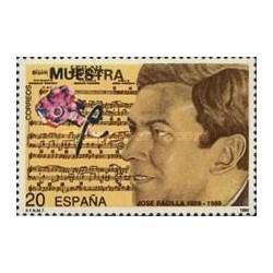 1 عدد تمبر صدمین سال تولد خوزه پادیلا - آهنگساز - اسپانیا 1990