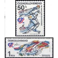 2 عدد تمبر مسابقات ورزشی ملی -  چک اسلواکی 1985