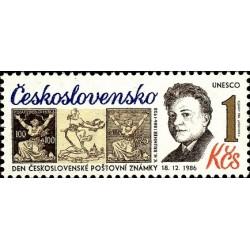 1 عدد تمبر روز تمبر - صدمین سال تولد وراتیسلاو هوگو برونر ، طراح تمبر -  چک اسلواکی 1986
