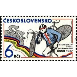 1 عدد تمبر مسابقات جهانی دوچرخه سواری سراسر کشوری -  چک اسلواکی 1987