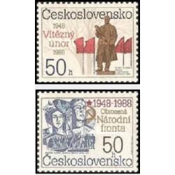 2 عدد تمبر 40مین سالگرد پیروزی فوریه و جبهه ملی -  چک اسلواکی 1988