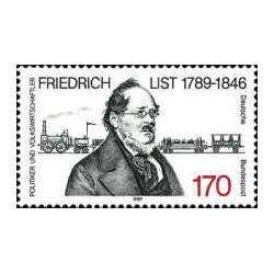 1 عدد تمبر صدمین سال تولد فردریش لیست - سیاستمدار - جمهوری فدرال آلمان 1989