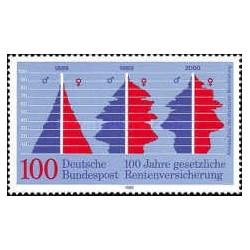 1 عدد تمبر صدمین سال حق بیمه عمومی تضمین شده  - جمهوری فدرال آلمان 1989