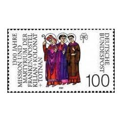 1 عدد تمبر 1300مین سال مرگ 3 حواری کیلیان ، کلونات و توتنان - جمهوری فدرال آلمان 1989
