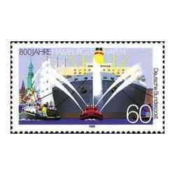 1 عدد تمبر 800مین سال بندر هامبورگ - جمهوری فدرال آلمان 1989