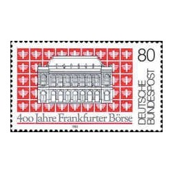 1 عدد تمبر 400 سالگرد بورس اوراق بهادار فرانکفورت  - جمهوری فدرال آلمان 1985