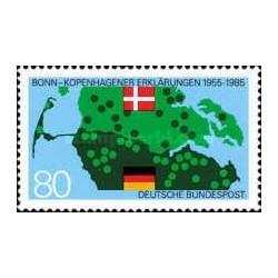 1 عدد تمبر 30مین سال بیانیه مشترک کپنهاگ- بن - تمبر مشترک با دانمارک - جمهوری فدرال آلمان 1985
