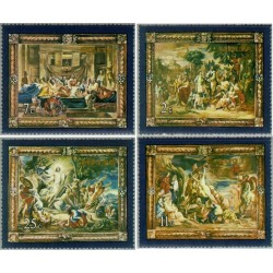 4 عدد تمبر تابلو نقاشی - آخرین شام مسیح ، ورود عیسی به اورشلیم و ... - مالت 1978