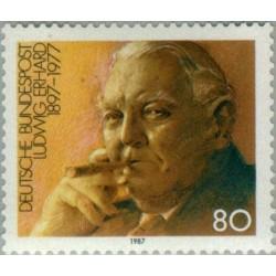 1 عدد تمبر نودمین سال تولد لودویک ارهارد - سیاستمدار - جمهوری فدرال آلمان 1987