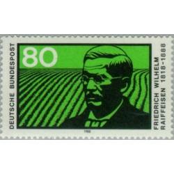 1 عدد تمبر یادبود فردریش ویلهلم رایفیزن - موسس بانک پس انداز - جمهوری فدرال آلمان 1988