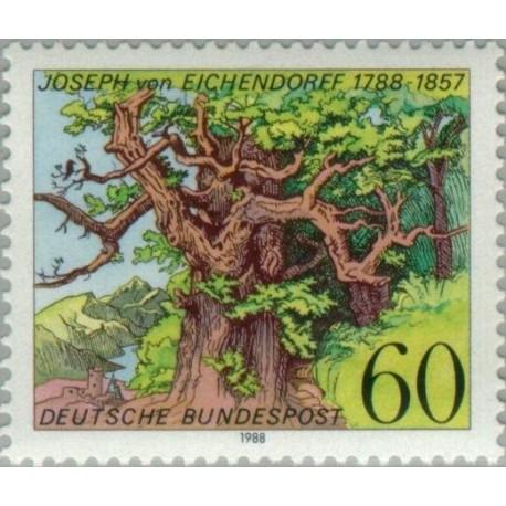 1 عدد تمبر 200مین سالگرد تولد جوزف ون ایشدنورف، شاعر - جمهوری فدرال آلمان 1988