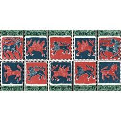 10 عدد تمبر قلاب دوزی - سوئد 1974 جدا شده از شیت