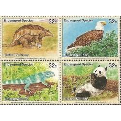 4 عدد تمبر گونه های در معرض خطر - نیویورک سازمان ملل 1995