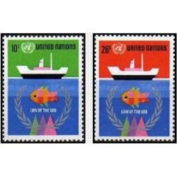 2 عدد تمبر کنفرانس سازمان ملل در مورد حقوق دریاها - نیویورک سازمان ملل 1974