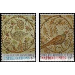 2 عدد تمبر هنر  - موزائیک تونسی قرن سوم قبل میلاد- نیویورک سازمان ملل 1969