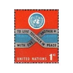 1 عدد تمبر سری پستی - سایز کوچک - نیویورک سازمان ملل 1965