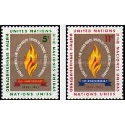 2 عدد تمبر سالروز بیانیه حقوق بشر - نیویورک سازمان ملل 1963