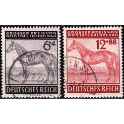 2 عدد تمبر مسابقات اسبدوانی وین - رایش آلمان 1943  مهرخورده