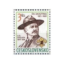 1 عدد تمبر 80مین سال جنبش پیشاهنگی اسلواکی و 115مین سال تولد اسوجسیک بنیانگذار آن - چک اسلواکی 1991