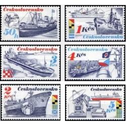 6 عدد تمبر کشتیرانی - چک اسلواکی 1989
