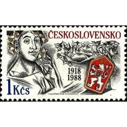 1 عدد تمبر هفتصدمین سالگرد چک اسلواکی - چک اسلواکی 1988